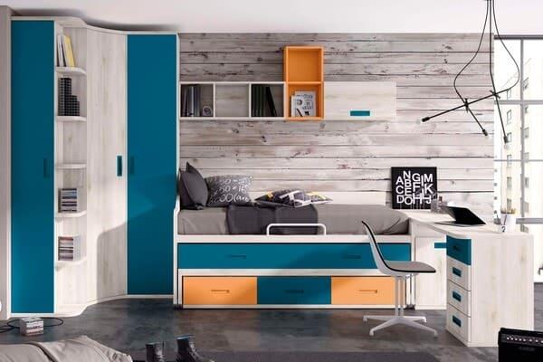 dormitorios juveniles naranja