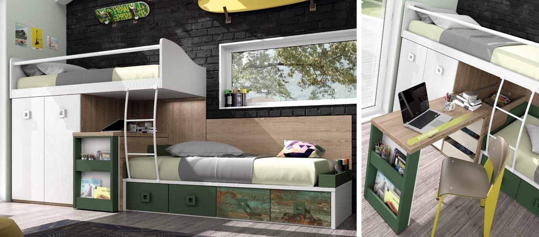 dormitorios juveniles ambiente verde