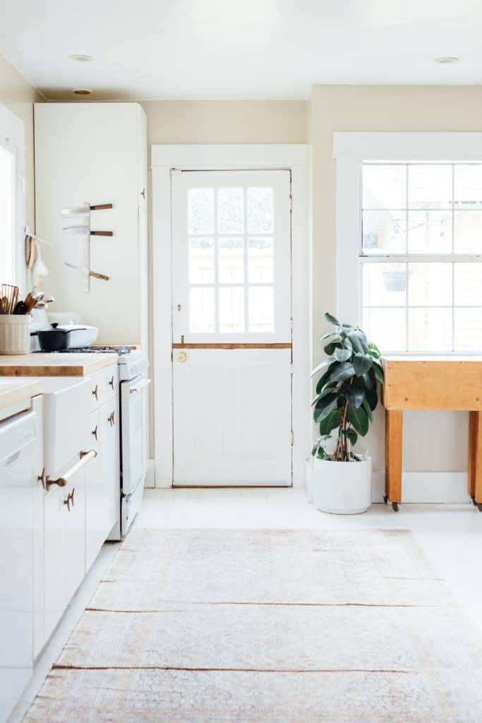 decora con vista de la puerta de una cocina de tonos blancos con planta ficus robusta al lado derecho de la puerta