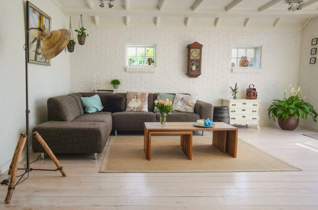 Salón con sofá color tostado, mobiliario vintage y plantas decorativas