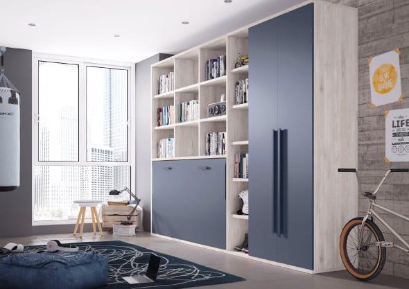 dormitorio juvenil en tonos madera y negro antracita