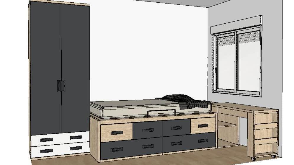 Diseño 3D dormitorio juvenil 1